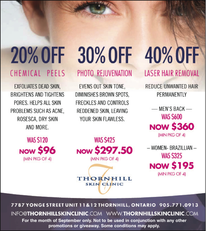 SPECIALS AND PROMOTIONS FROM THORNHILL SKIN CLINIC